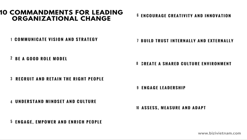 10 Commandments for Leading Organizational Change